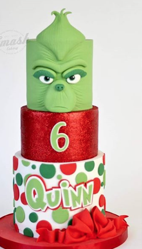 Red and green fondant grinch cake