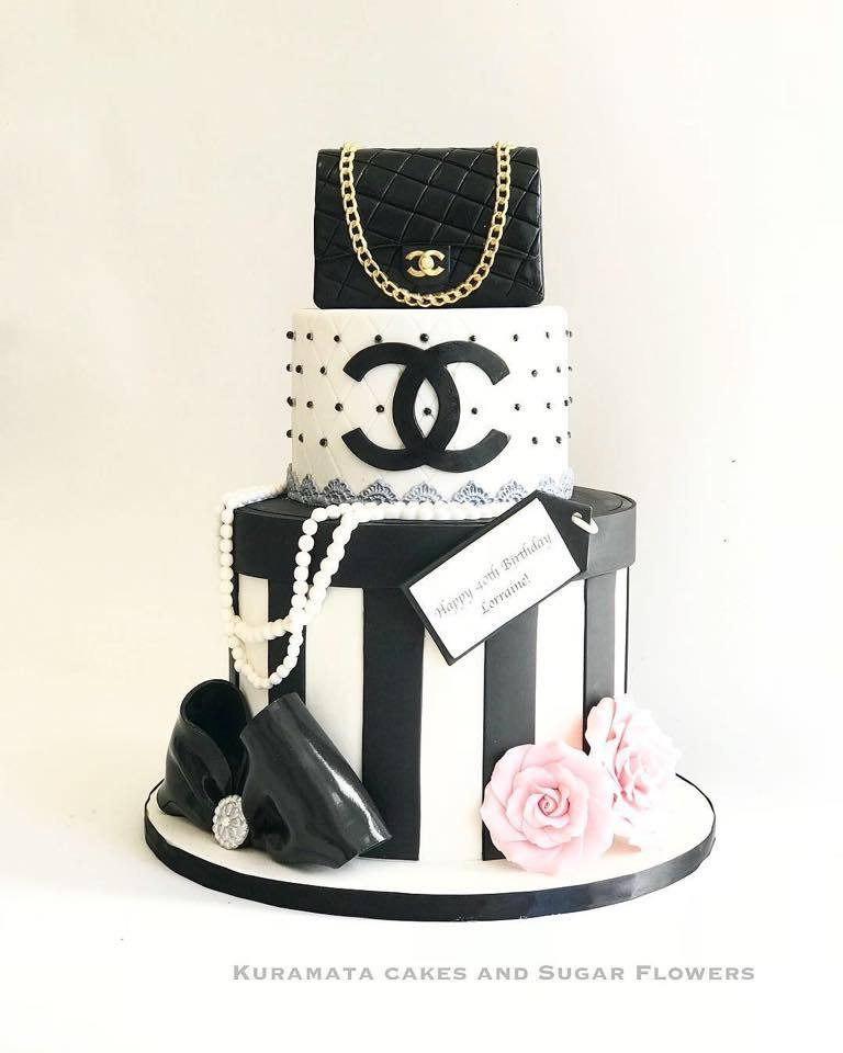 Black and white striped fondant birthday cake