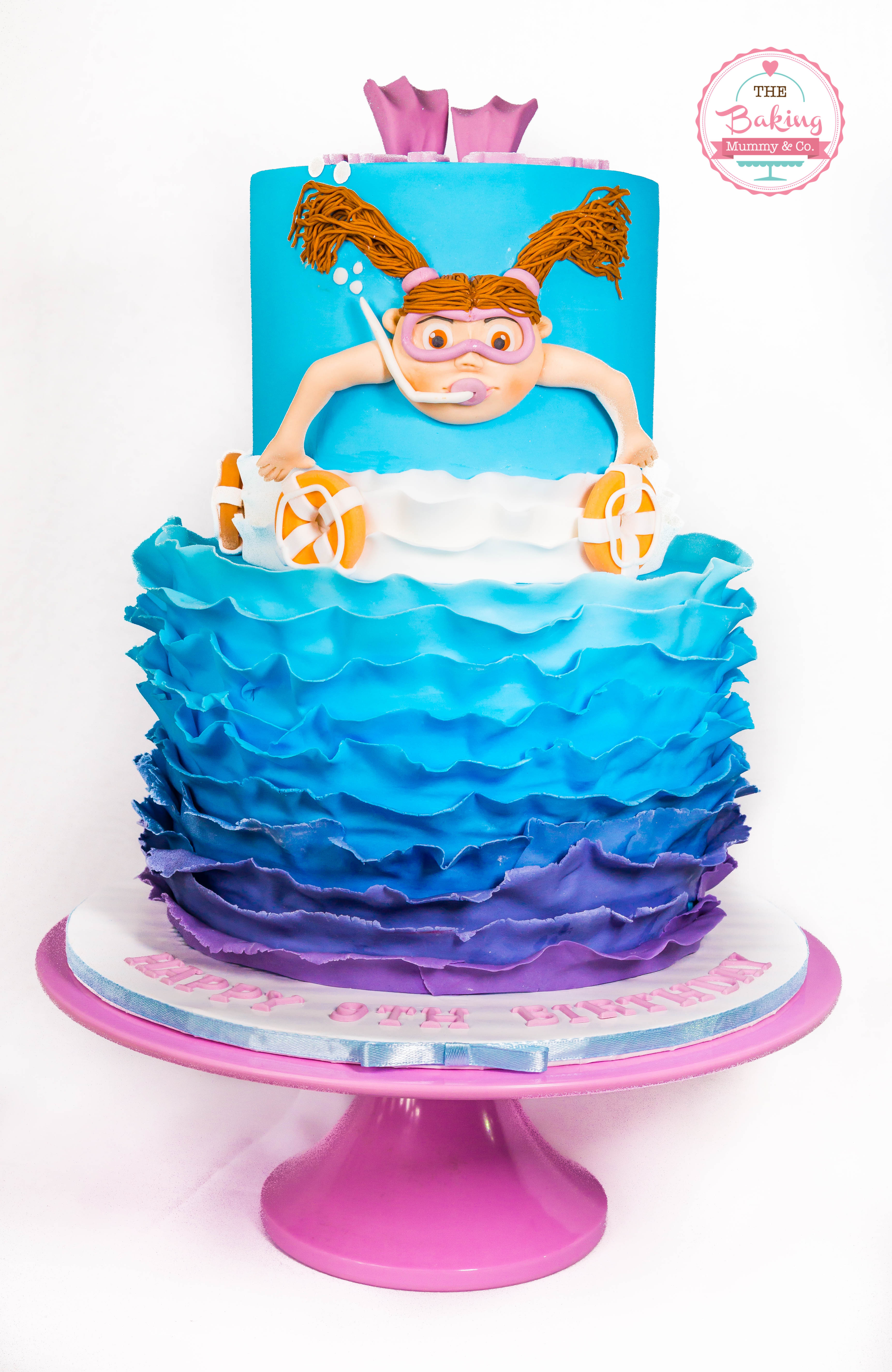 Purple and blue ombre swimming  birthday cake