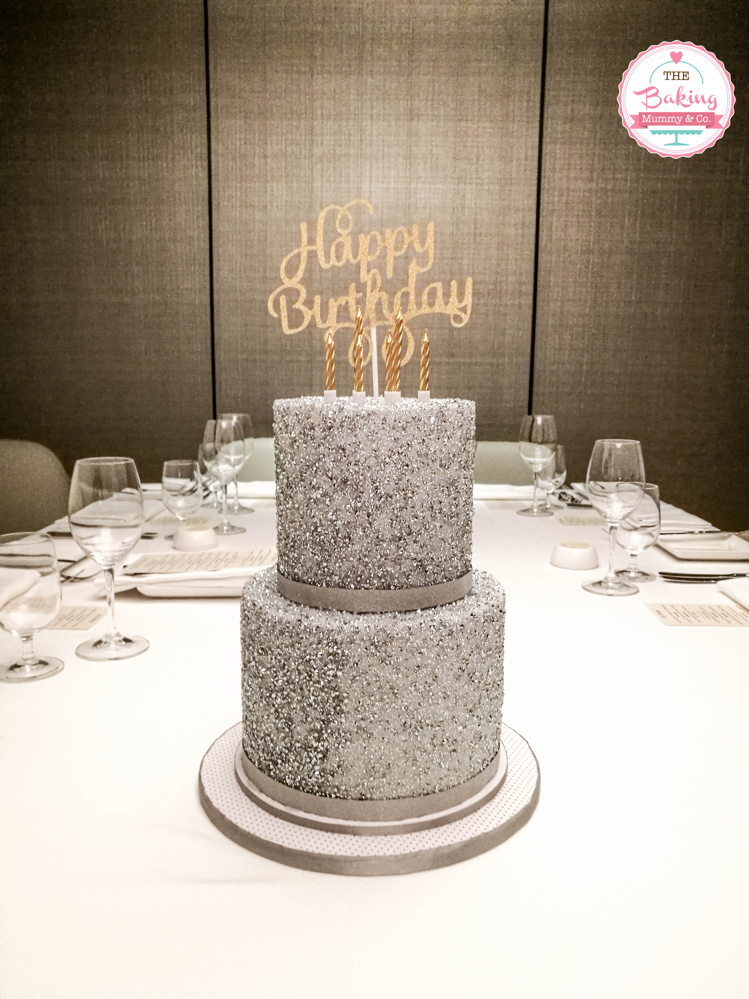 Silver sparkle birthday cake