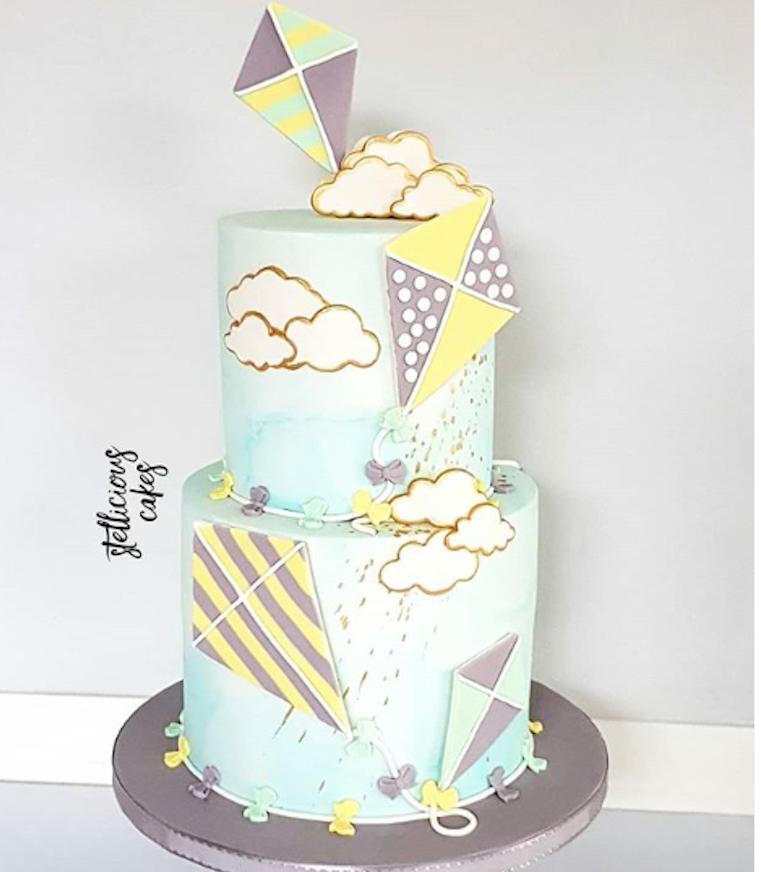 Kite themed fondant cake