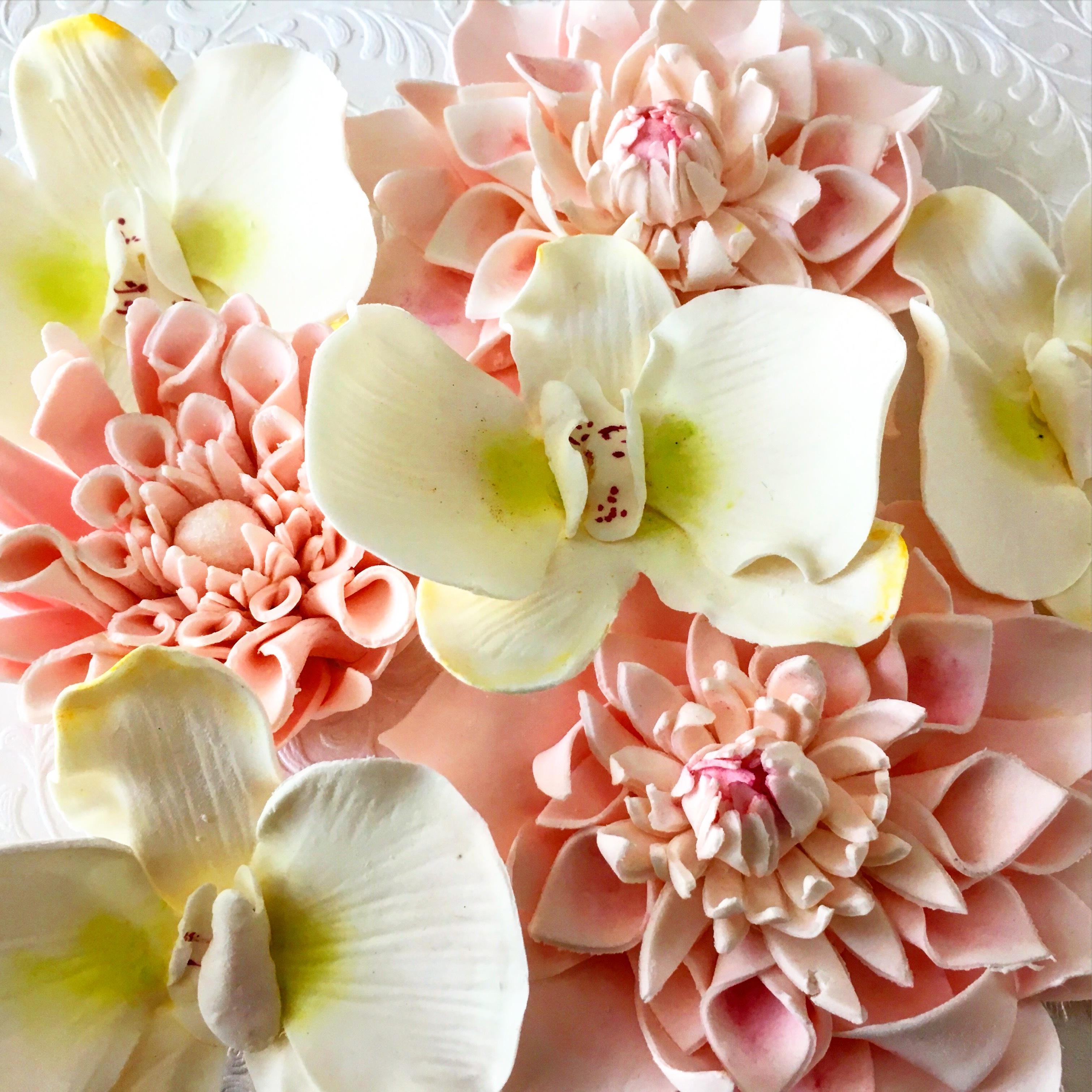 Gum paste peony flowers