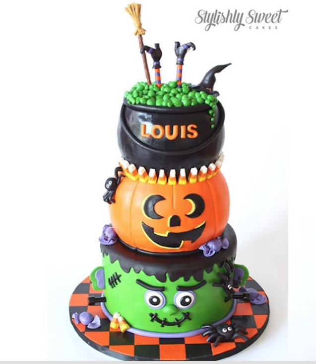 Halloween monster and witches cauldron fondant cake
