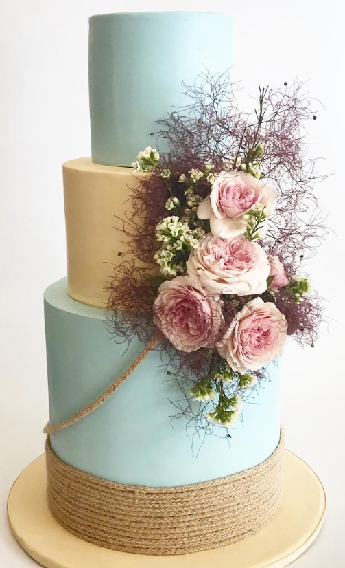 Baby blue and tan fondant wedding cake