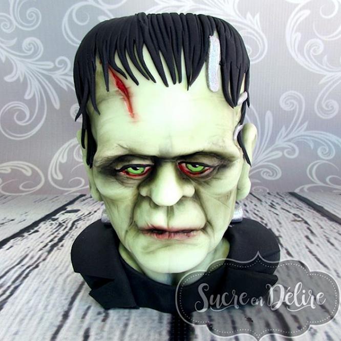 Frankenstein fondant bust cake