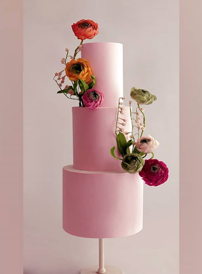 Baby pink fondant modern wedding cake with sugar flowers