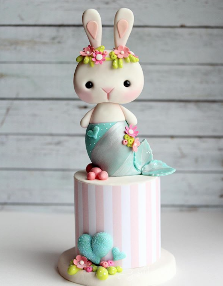 Mermaid Bunny Cake Topper