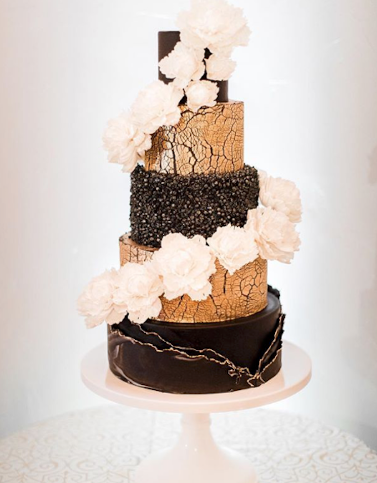Black and gold elegant fondant wedding cake