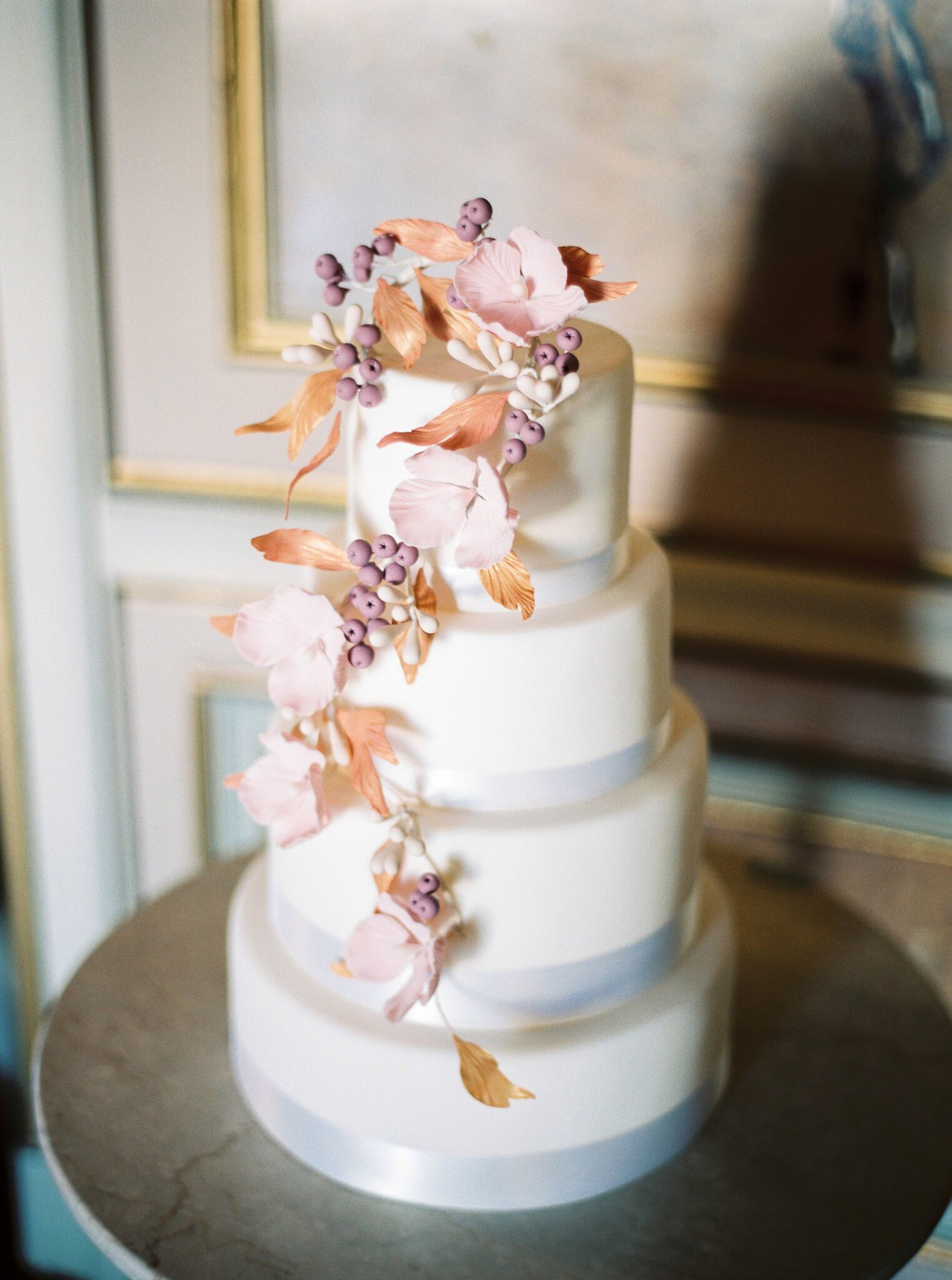 White Wedding with pastel sugar flowers
