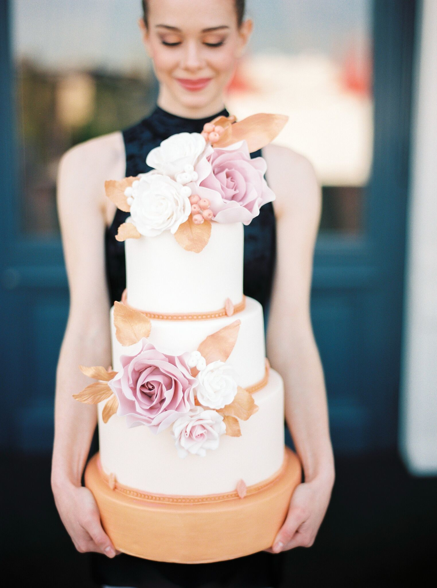 White & rose gold fondant Wedding