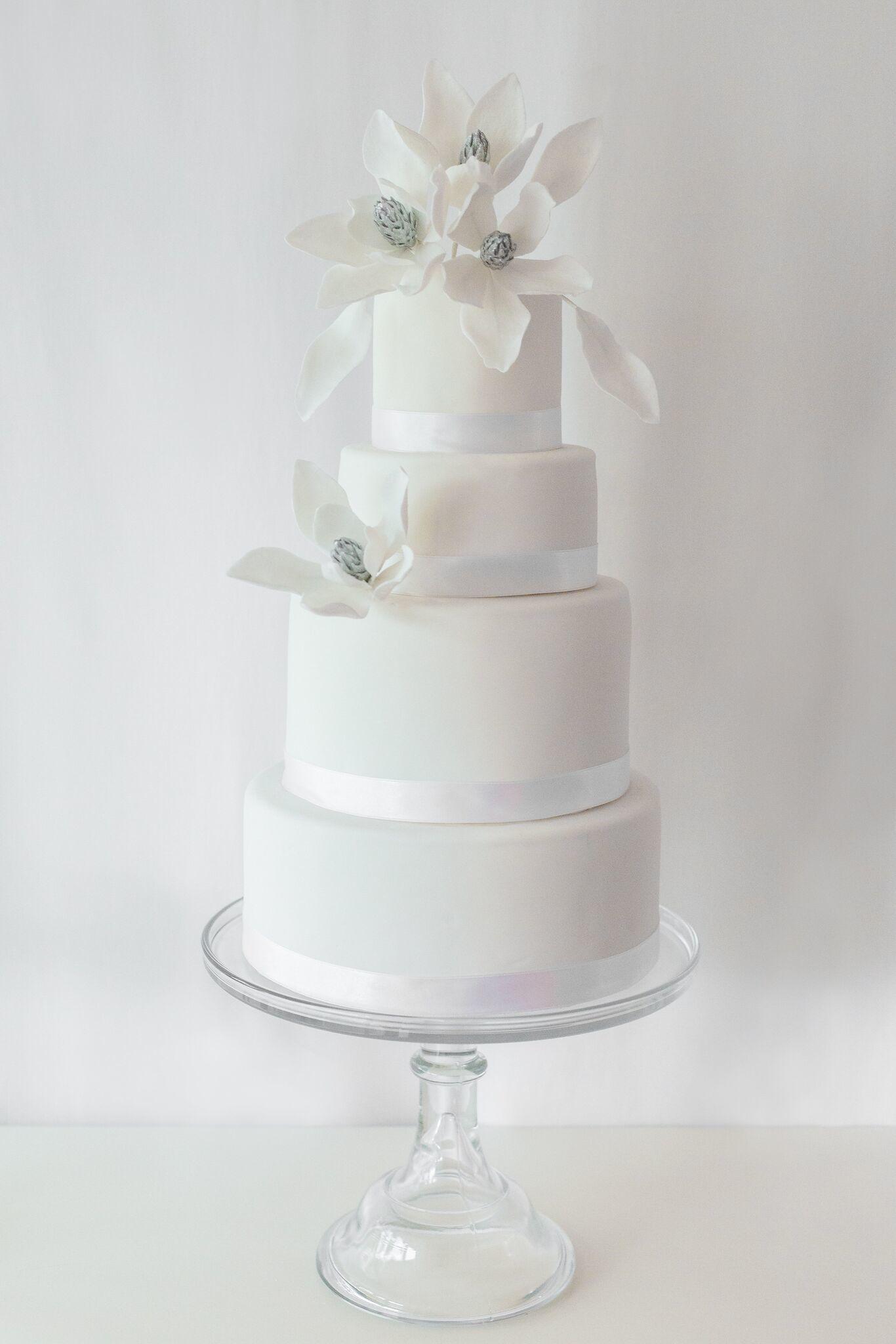 All White fodant winter Wedding cake