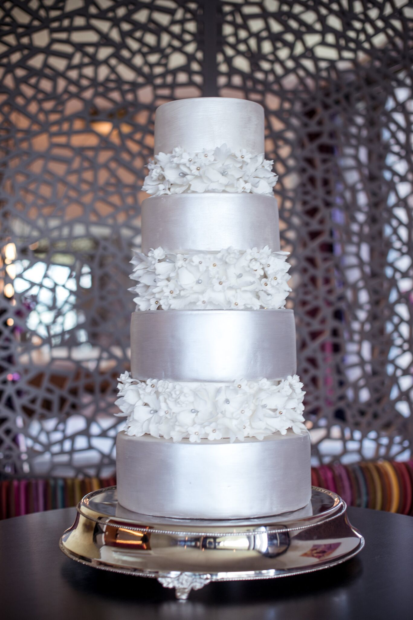 Silver fondant Wedding cake with white sugar flowers