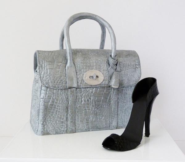 Silver hand Bag fondant cake & sugar shoes