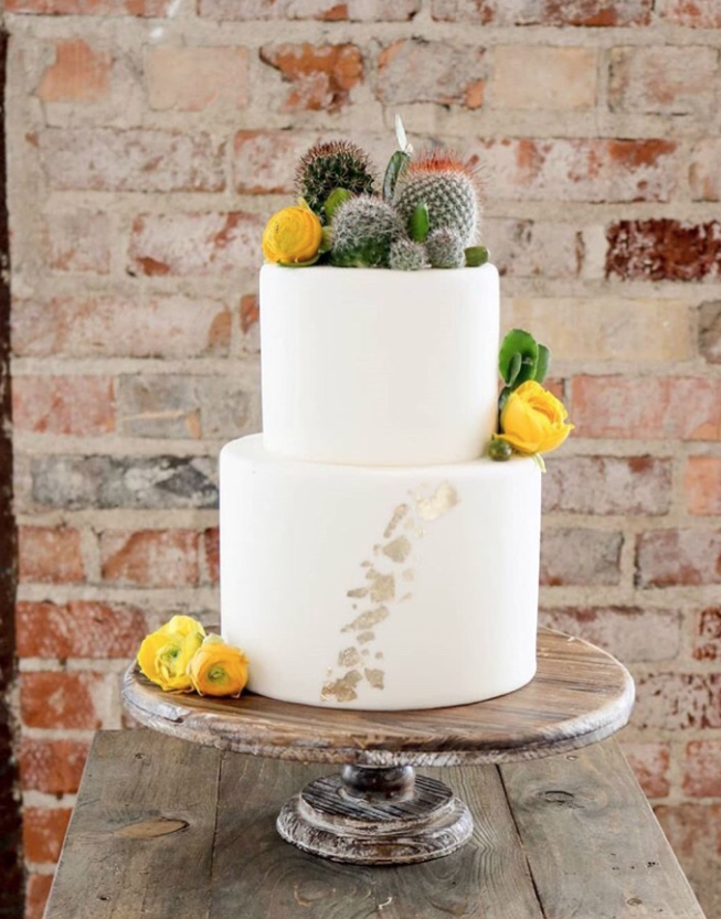 White desert boho fondant wedding cake