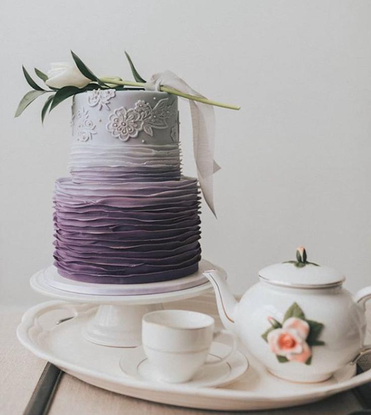 Purple ombre ruffle fondant cake