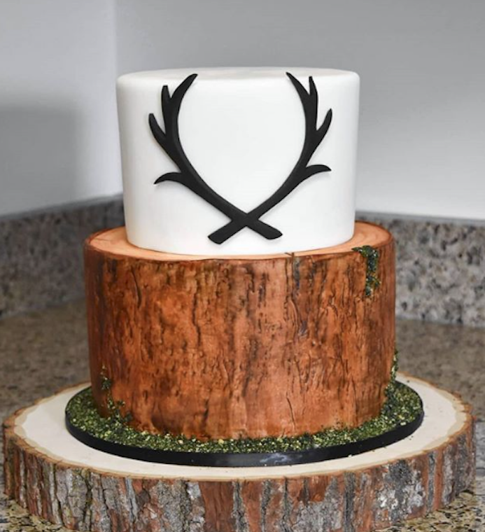 Woodland white and tree bark effect wedding cake