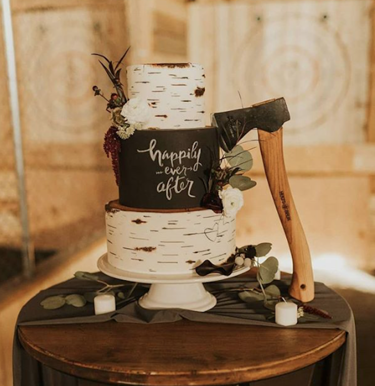 White birch tree cake with chalkboard