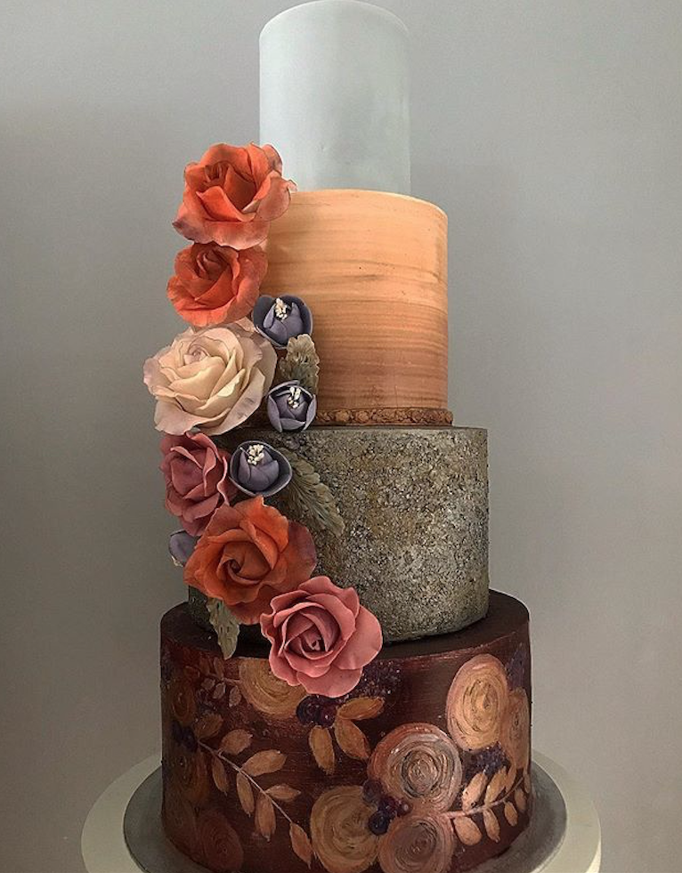 Burnt orange and brown fondant wedding cake