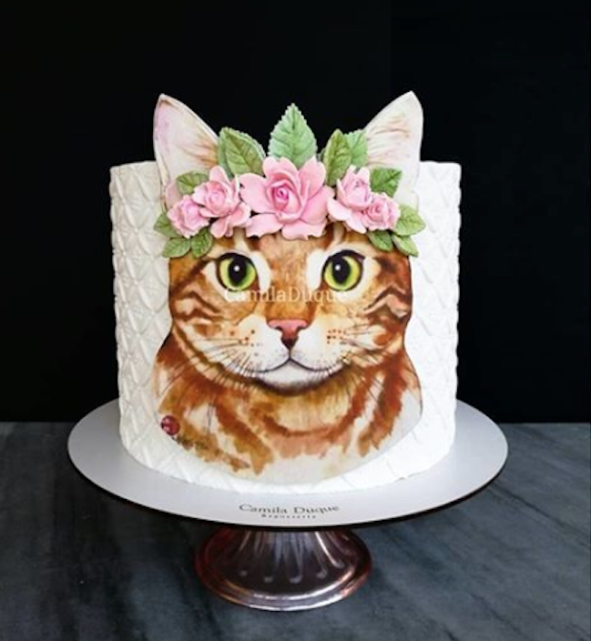 Boho kitty cat fondant birthday cake