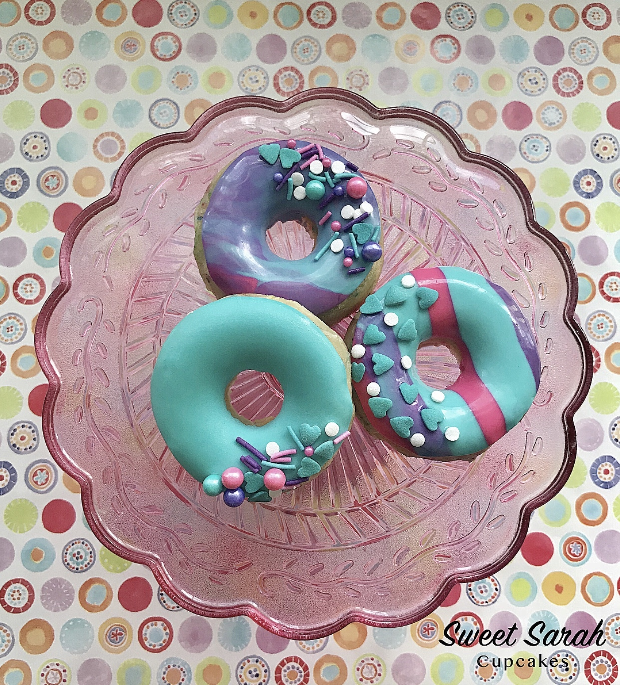 Turquoise Fondant sprinkle donuts