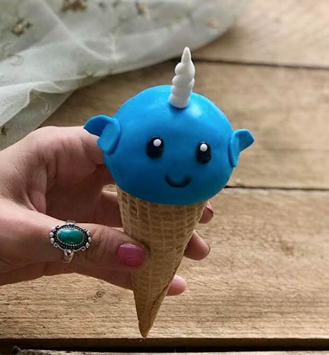 Fondant Narwhal in ice cream cone