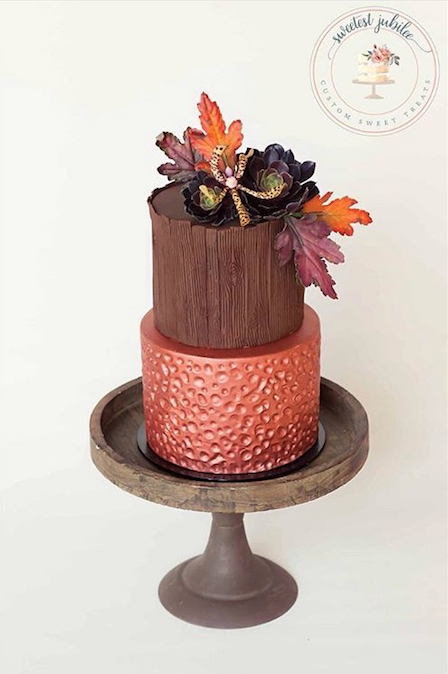Brown and copper fondant wedding cake