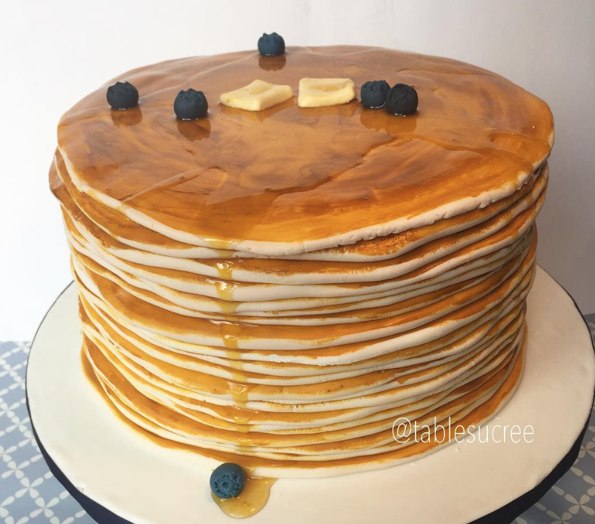 Fondant stack of pancakes