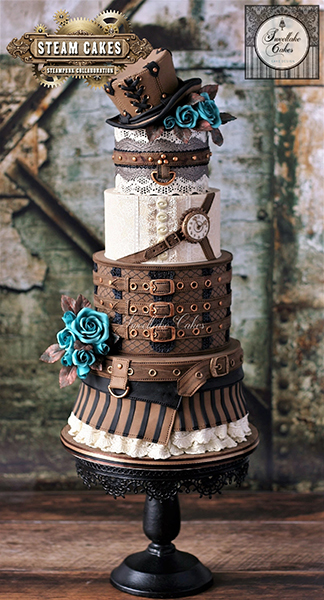 Brown fondant steampunk wedding cake