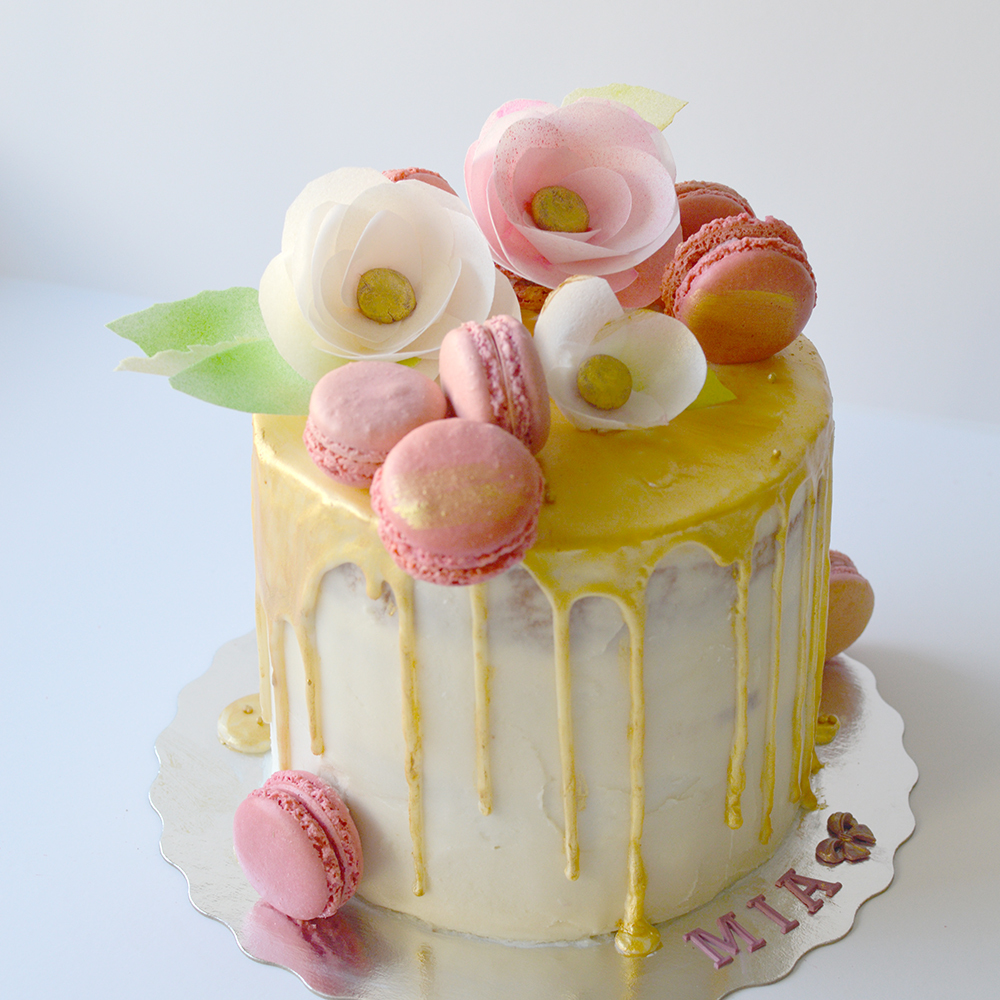 Yellow birthday drip cake