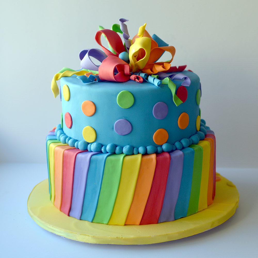 Rainbow with polka dot birthday cake
