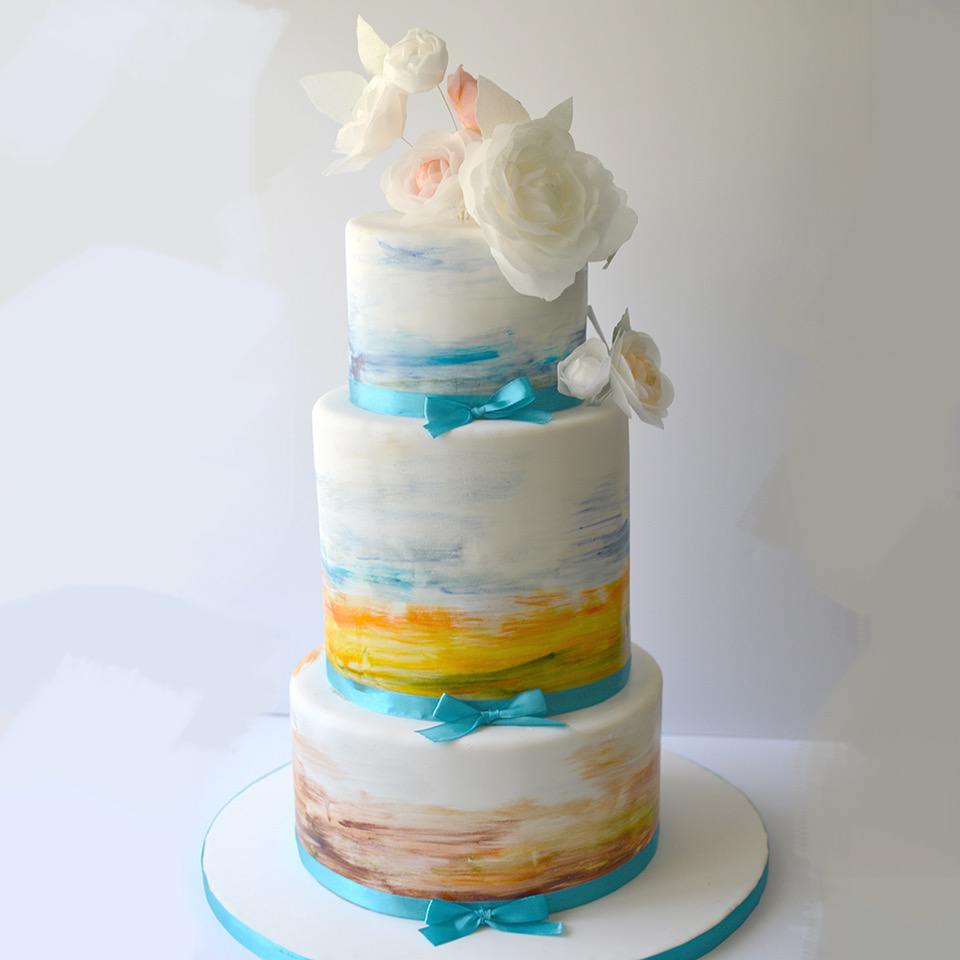 White and blue watercolor birthday cake