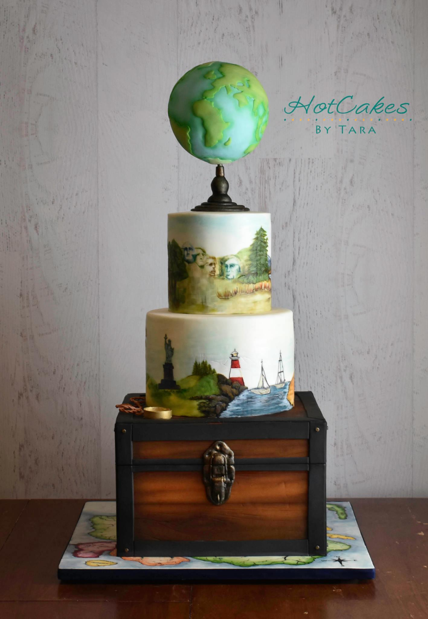 World Adventure themed fondant cake