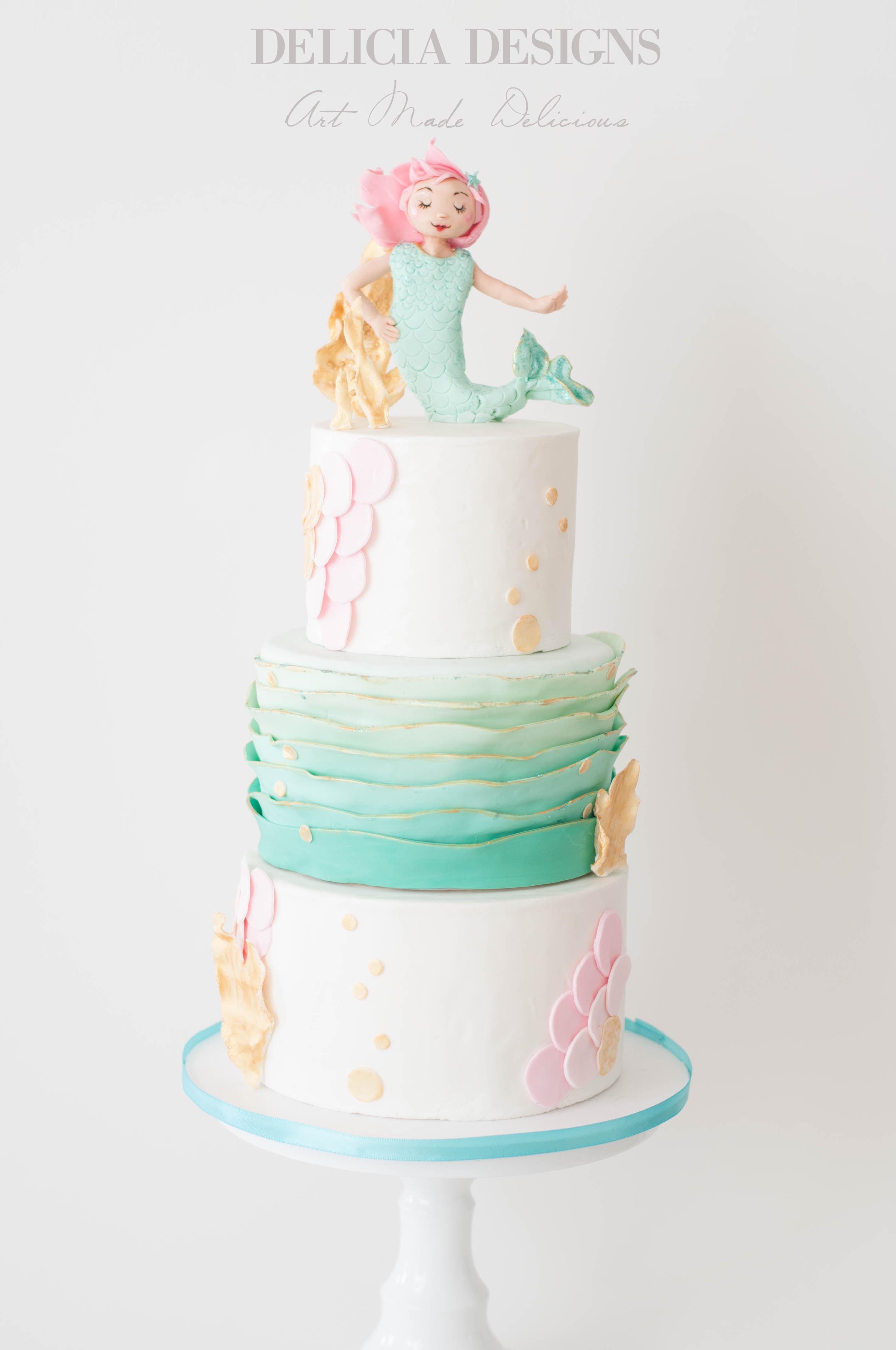 Pastel ruffle mermaid birthday cake