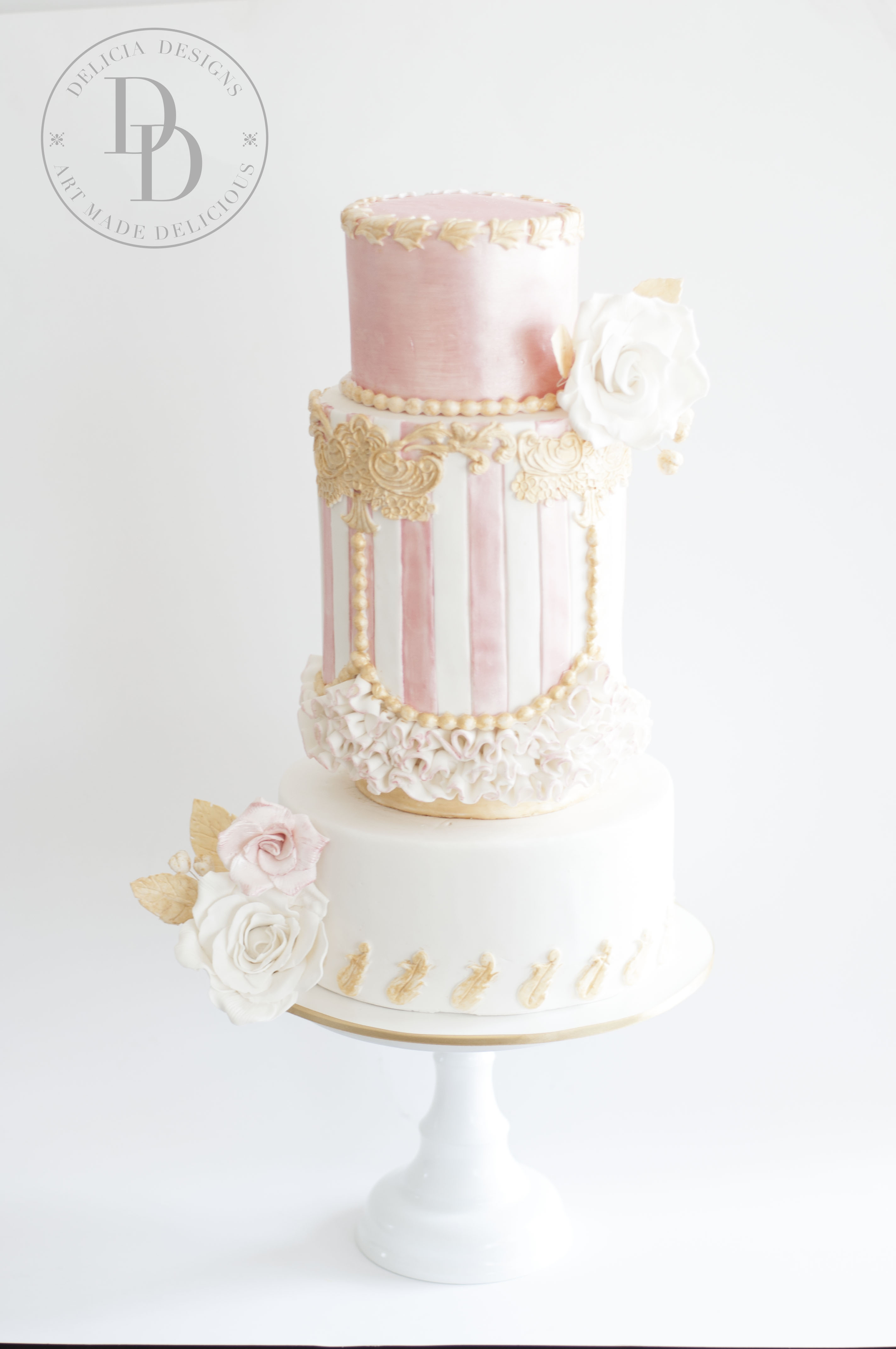 Rose gold and baby pink striped fondant cake
