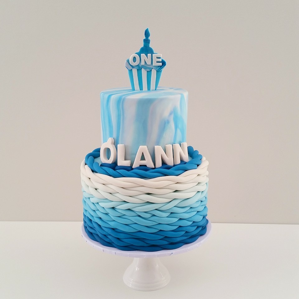 Blue and white marbled ombre birthday