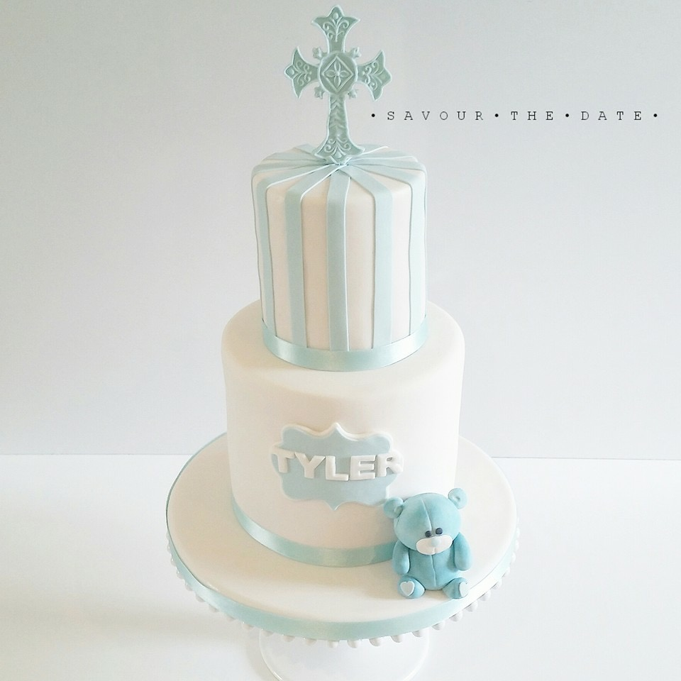 Blue and white fondant baptism boy cake