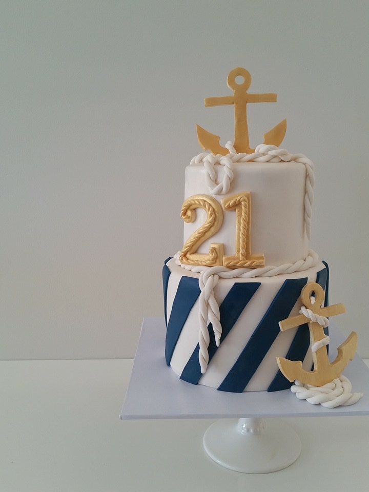 Blue and white nautical themed birthday