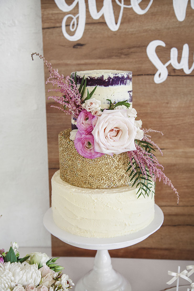 Ivory and gold shimmer wedding