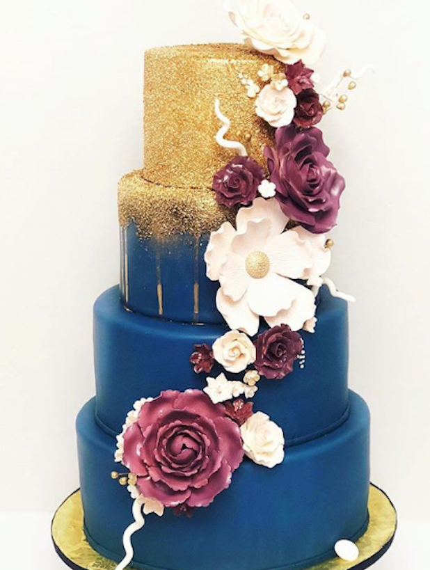 navy blue wedding cake with gold sequins