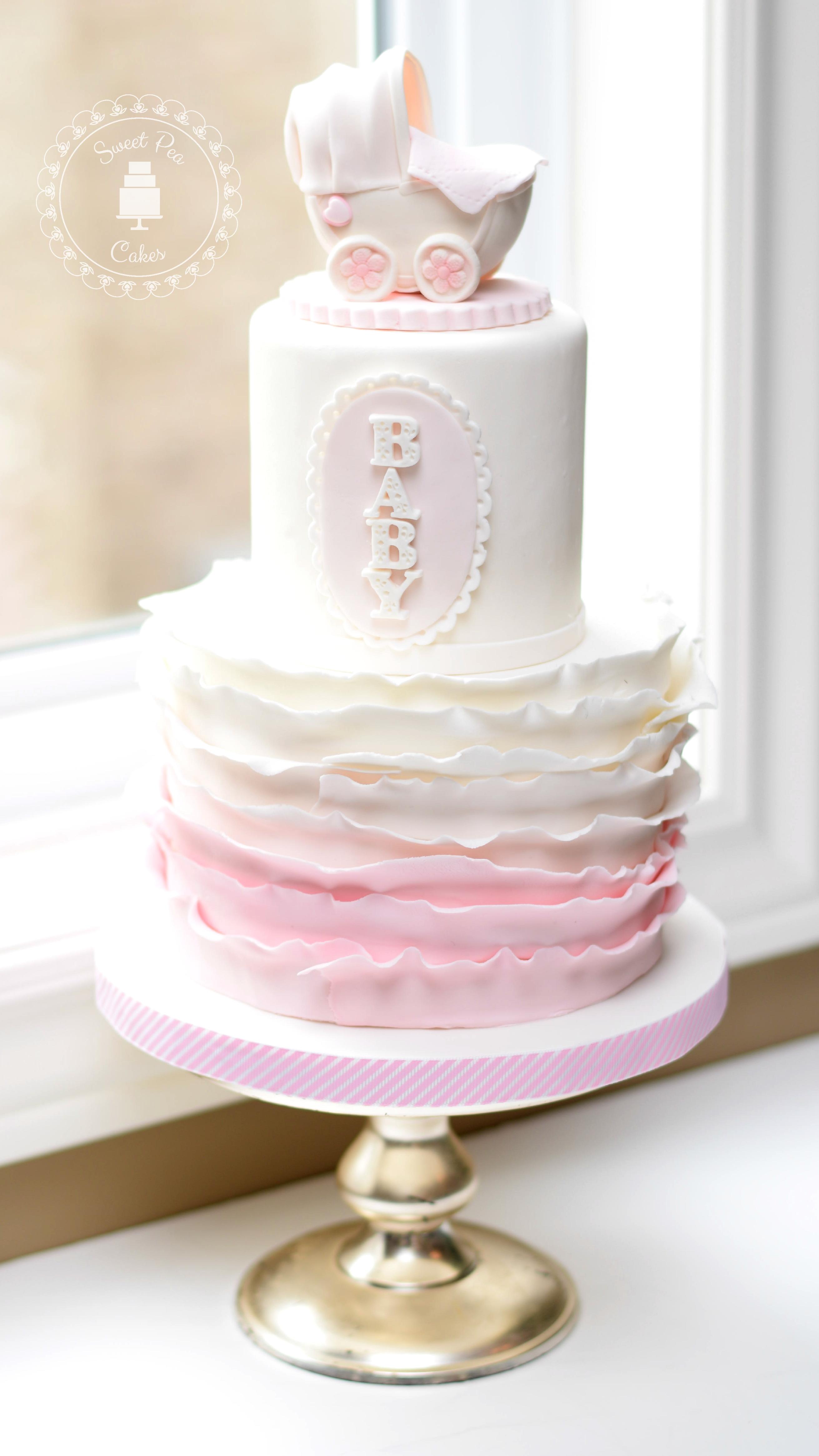 Ruffle baby girl cake