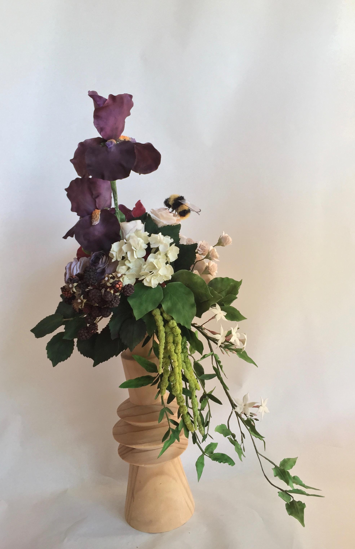 Purple sugar flower hydrangea bouquet
