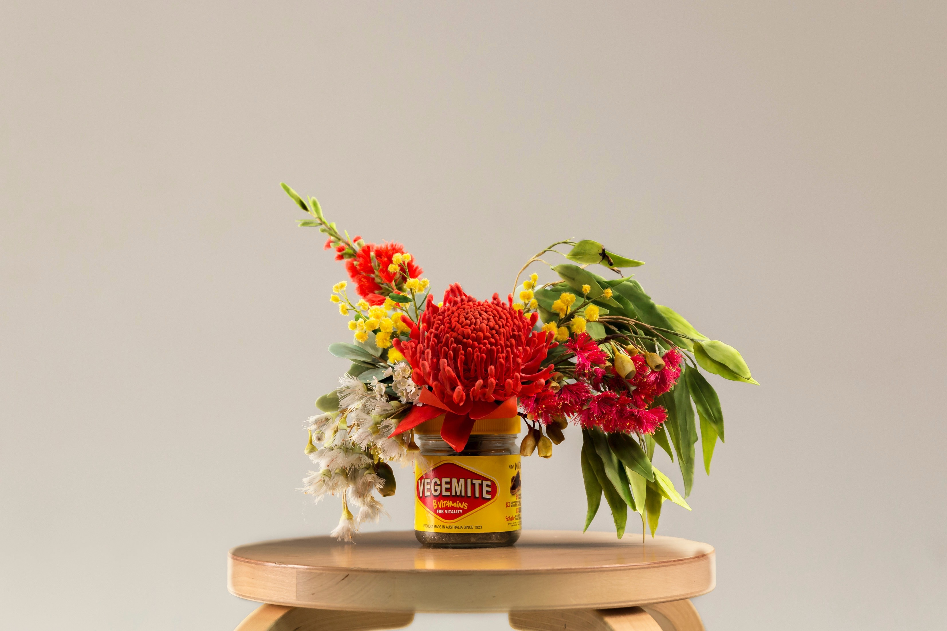 Red sugar flower bouquet with eucalyptus
