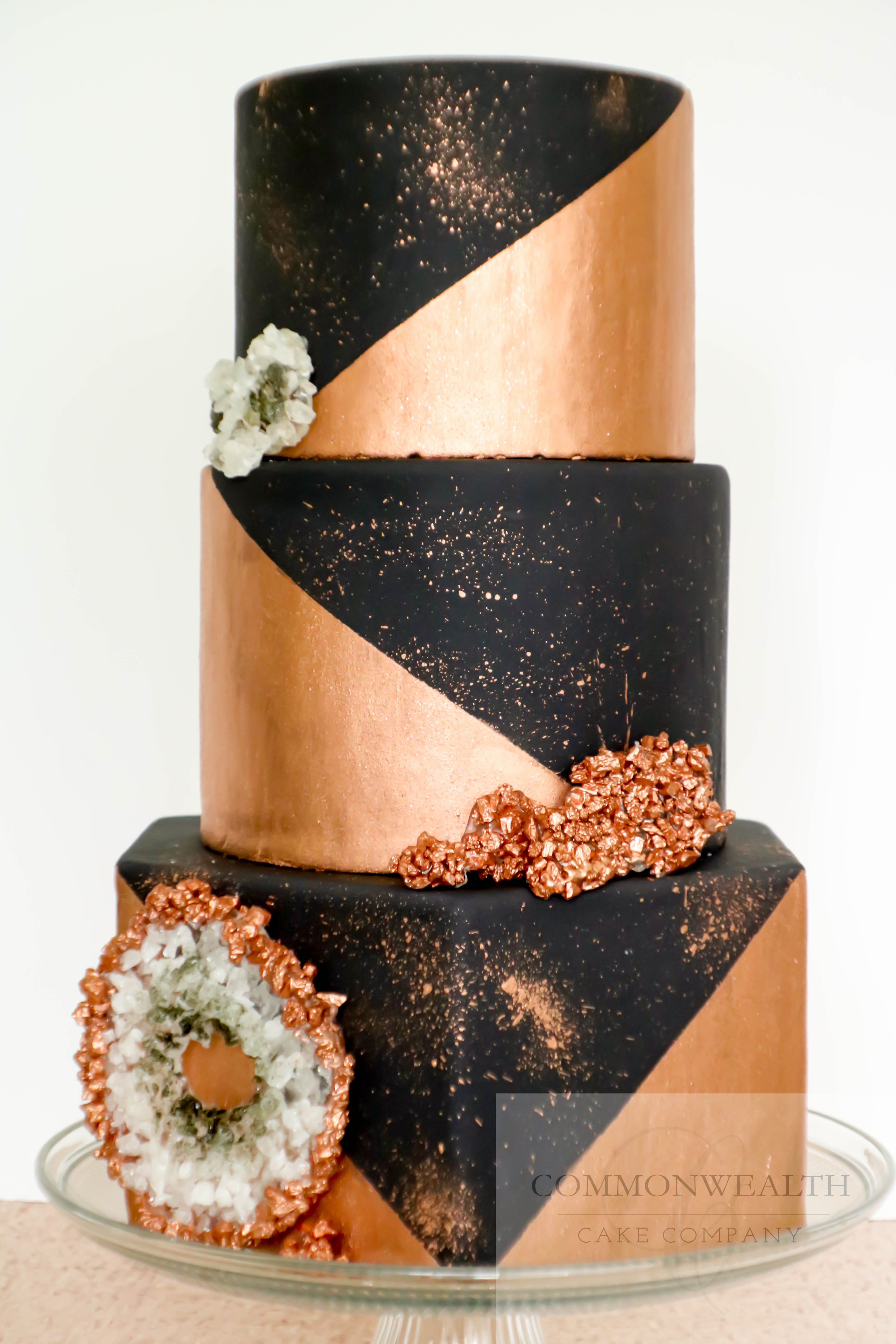 Black & copper fondant wedding cake