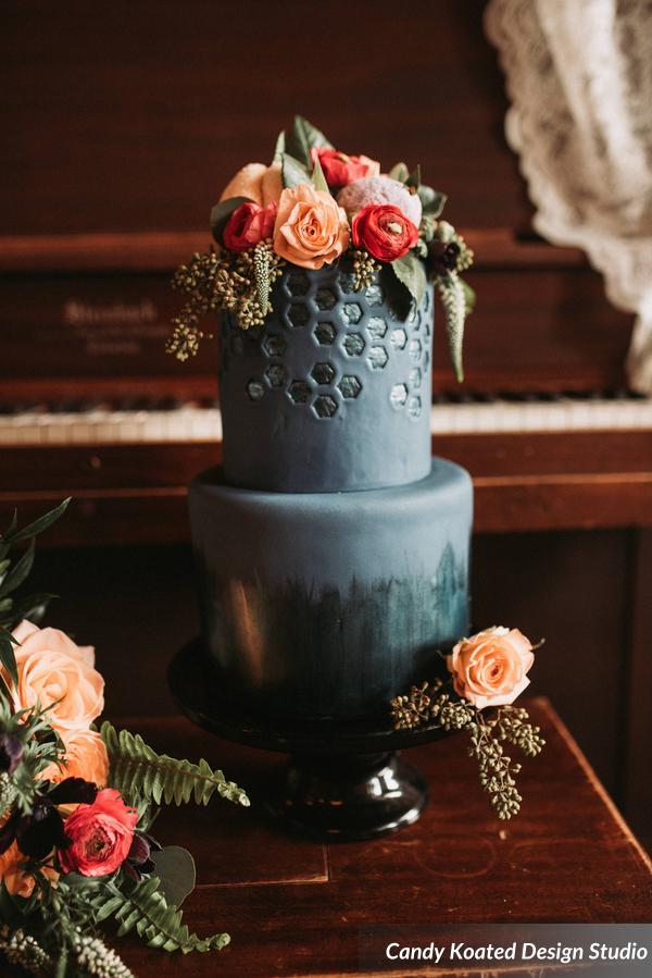 Black textured fondant wedding cake