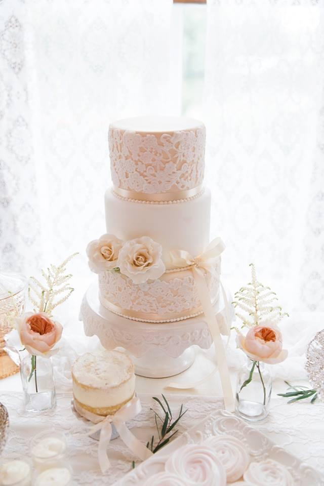 Rose gold and pink lace wedding cake