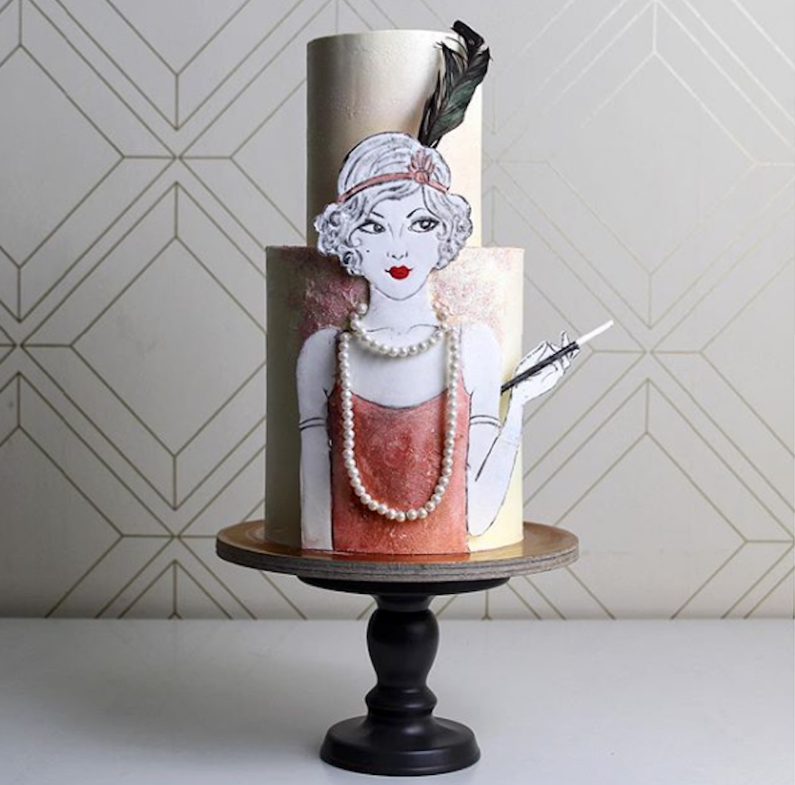Great Gatsby themed fondant birthday cake