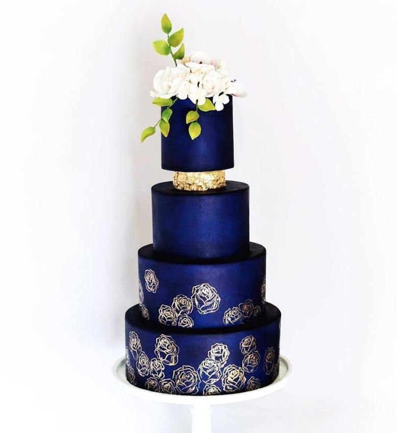 Navy blue with gold fondant wedding cake made with Satin Ice