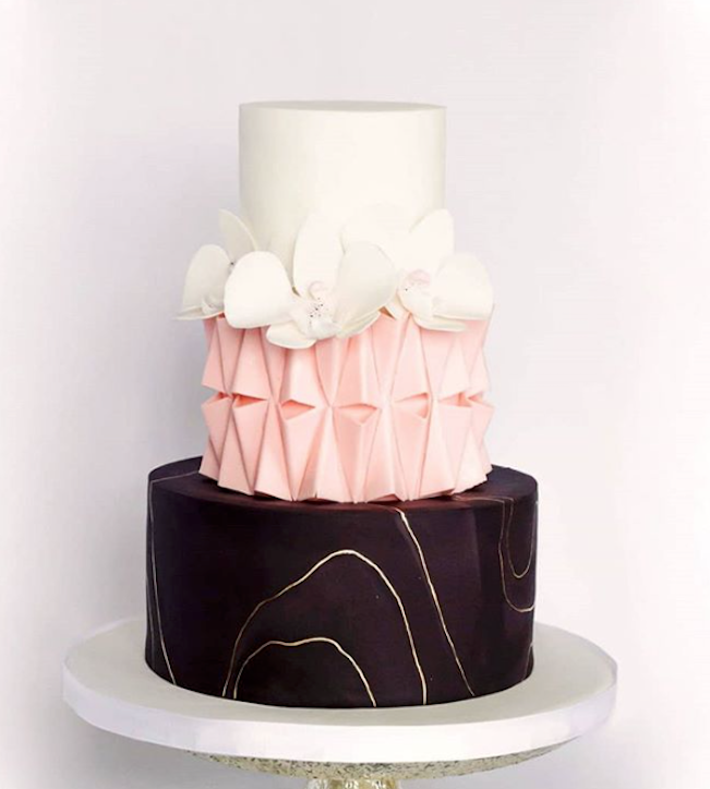 Black and light pink fondant wedding cake