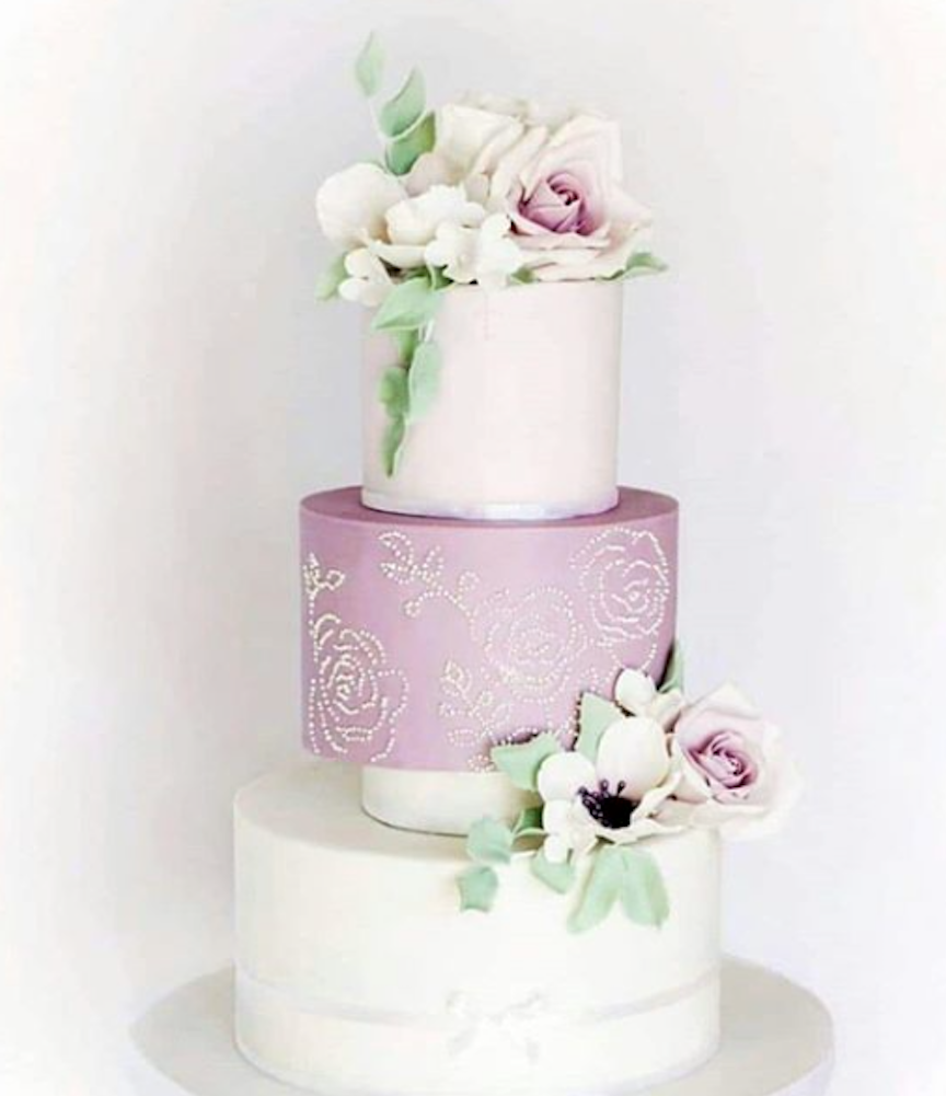 lavender and white fondant wedding cake