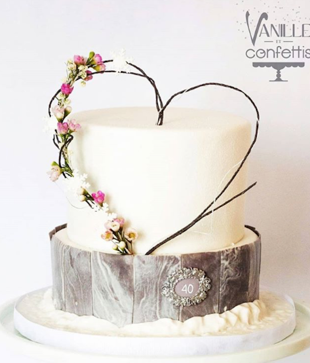 Woodland tree bark effect wedding cake with a heart